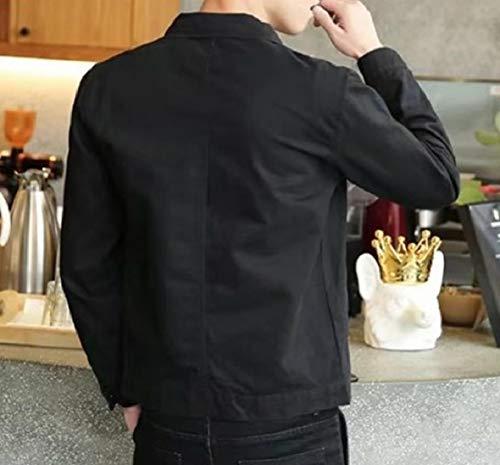 Colletto Mens down Turn Jeans Giacca Button Nero Pelo Denim Della up Xinheo Corto Solido qTwgTXp6