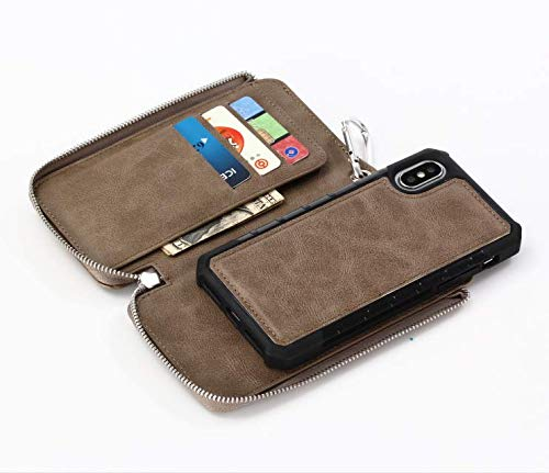 6.5'' iPhone XS MAX Waist Bag Wallet iPhone XS MAX Wallet Folio Case Leather Pouch 10 Card Holder Bulit In Waist Metal Ring Detachable Magnetic Slim Case Large Capacity Men Money Pocket Clutch Cover