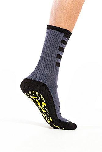 StopSocks - Hospital Socks Plus Yoga, Traction, Gym, Tread, Non Skid, Anti Slip Socks - Megaformer Plus The Perfect Running Sock Grey / Yellow - Crew - 1 Pair Large