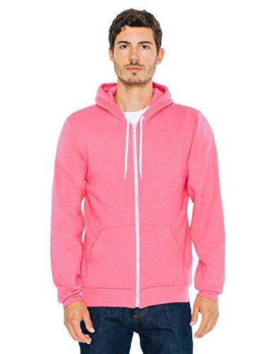 American Apparel Men Flex Fleece Zip Hoodie Size 2XL Deep Pink