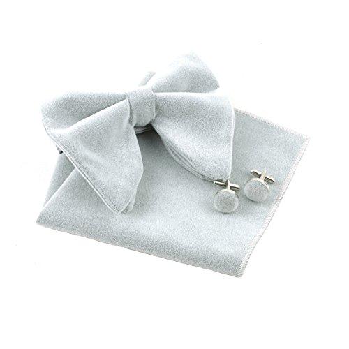 Levao Men's Velvet Vintage Bow Tie Tuxedo Big Bowtie, Hanky Square, Cufflinks Set KR2629 Gray