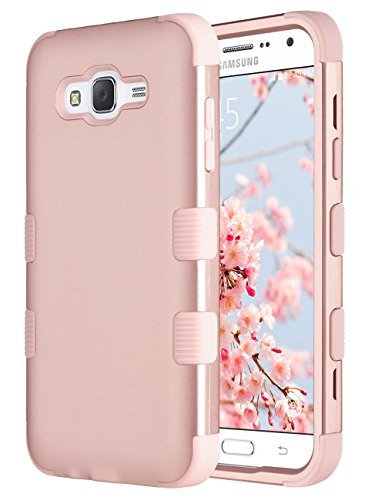 Galaxy J7 Case, ULAK Anti Slip Galaxy J7 Case Dust Scratch Shock Resistance Protective Cover for Samsung Galaxy J7 J700 (2015) with Hybrid High Soft Silicone Hard PC Case (Rose gold) (Skin Plastic Tpu)