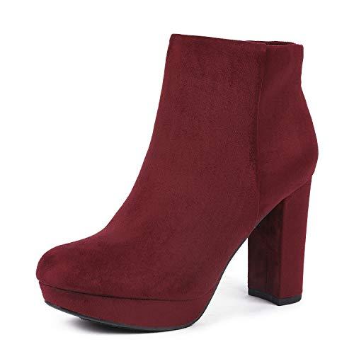 DREAM PAIRS Women's Stomp Burgundy High Heel Ankle Bootie Size 10 B(M) US -