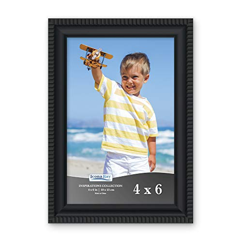 Icona Bay 4x6 Picture Frames (1 Pack, Black) Picture Frame Set, Wall Mount or Table Top, Inspirations Collection (4x6 Table Top Picture Frames)