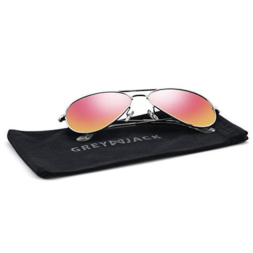 GREY JACK Polarized Classic Aviator Sunglasses Military Style for Men Women Silver Frame Pink Lens - Shops Sunglasses