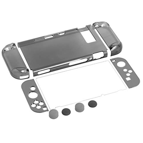 Cywulin Dockable Protective Hard Housing Shell Case for Nintendo Switch Console and Joy-Con Clear Ergonomic Anti-Scratch Shockproof PC Cover with Screen Protector & Joystick Caps Accessories (Black)