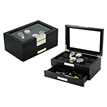 Top Quality Mens Piano Finish Black Wood Watch and Cufflink Organizer Jewelry Box (Busy man)