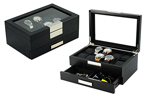 Top Quality Executive Black wood 10-Watch Storage and Jewelry Box (Busy man)