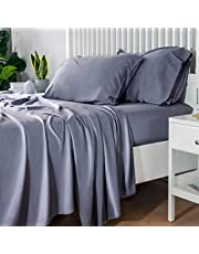 Bedsure 100% Bamboo Sheets Queen - Cooling Bed Sheet Set Deep Pocket 4 Piece Silky Soft Breathable-1 Fitted Sheet with 16 Inches, 1 Flat Sheet, 2 Pillowcases(Grey)