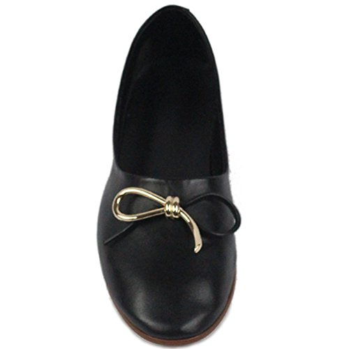 Classic Ballet HooH On Black Bowknot genuino Slip Shoes Casual punta redonda de Flats cuero 0d16wqdr