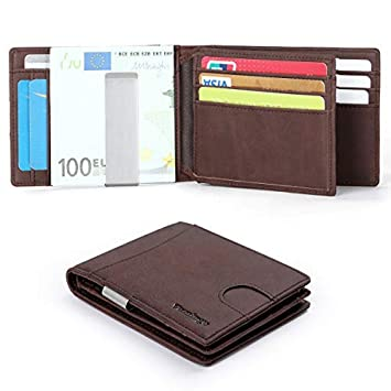 Vemingo Mens Money Clip Wallet with Coin Pocktet RFID Blocking Credit Card Hold