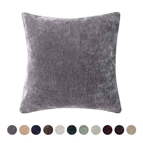 Loom & Mill Home Decorative Chenille Velvet Super Soft Solid Throw Pillow Cover Warm Cushion Cover Case for Sofa Bedroom Study with Zipper Hidden - (18 X 18 Inch, Silver -