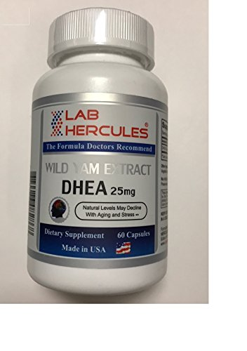 HERCULES DHEA 25 mg, Wild Yam Extract, Natural Levels May Decline with Aging and Stress 25 mg, 60 Capsules by Hercules Laboratory Group Inc.