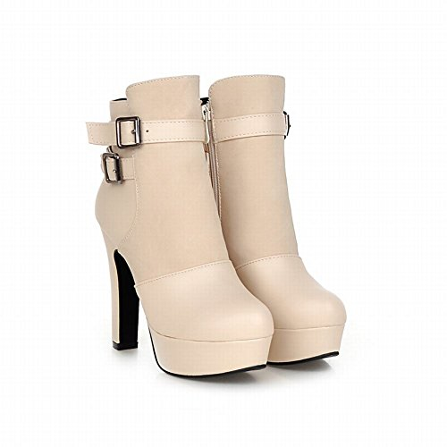 Carolbar Womens Fashion Elegance Zipper Buckles Sexy Platform High Heel Short Dress Boots Beige mIiwqLm