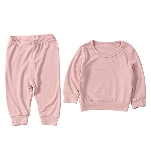mikistory Baby Boy Girl Tracksuit Infant Newborn Unisex Baby 2Pcs Top Pant Set Outfit Pink 3-6Months