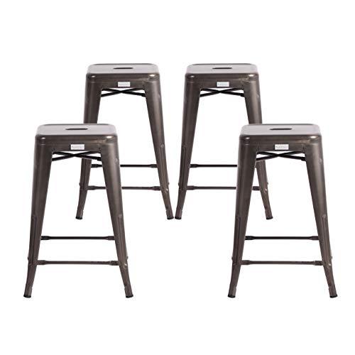 Buschman Set of Four Dark Gun Metal Dark Grey 24 Inches Counter Height Metal Bar Stools, Indoor/Outdoor, Stackable