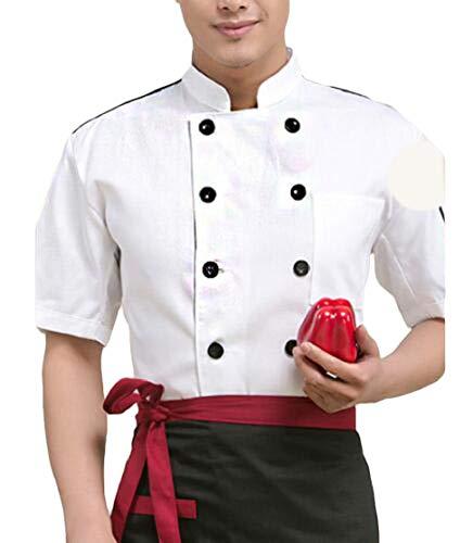 JXG Men Casual 1/2 Sleeve Cake Short Sleeve Work Chef Uniform Jacket Coat White XL