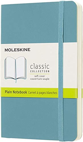 """Moleskine Classic Notebook, Soft Cover, Pocket (3.5"""" x 5.5"""") Plain/Blank, Reef Blue, 192 Pages"""