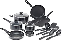 WearEver A787SG Complete Nonstick Oven Safe Easy to Clean Cookware Set, 16-Piece, Black