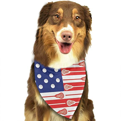 USA Lacrosse Sticks Flag Dog Bandana - Small Medium and Large Bandanas for Every Occasion Or Holiday - Easy to Tie On Your Cats Or Dogs Or Puppy - Comfortable and Stylish Pet Accessories ()