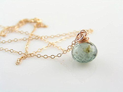 Genuine Moss Aquamarine Rose Gold Filled Necklace, March Birthstone ()