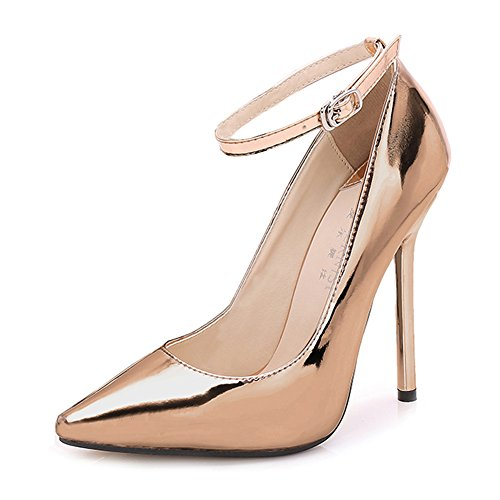 Buckle Strap golden Ankle High Super Pumps Stiletto MAIERNISI Pointed Heels Women's JESSI Toe wxz878vnH