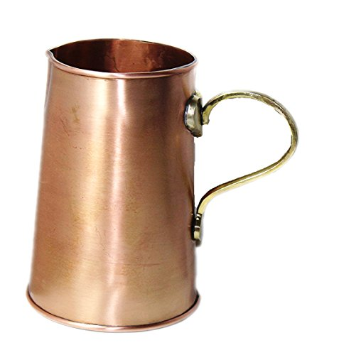 STREET CRAFT Handcrafted 100% Pure Solid Copper Tankard Brass Handle Moscow Mule Water Serving Pitcher Heavy Gauge Copper Water Pitcher Jug