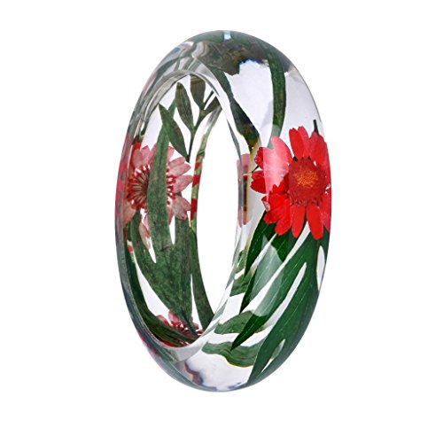 Jili Online Handmade Lucite Plastic Dried Flower Incased Resin Womens Bracelet Cuff Bangle Multi-color - Green, red