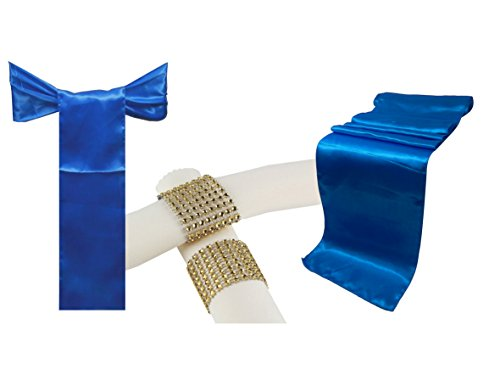 Combo Satin Pack 5 Table Runner 12x108 Inch & 25 Chair Bow Sash & 25 Plastic Rhinestone Napkin Rings Wedding Banquet Kitchen HomeDecor ()