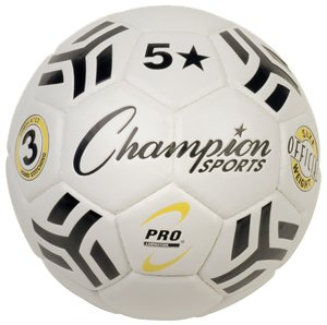 Champion Sports 5 Star Soccer Ball, Size 3, Yellow/White/Black