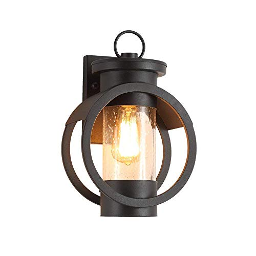 NYW Retro Wall Light Outdoor Waterproof Exterior Wall Garden Courtyard Lighting Wrought Iron Glass E27 Lamps Black E27 Diameter 9.06 in Height 13.78 in