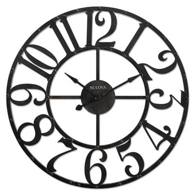 Bulova Corp Gabriel Wall Clock, Rustic Brown
