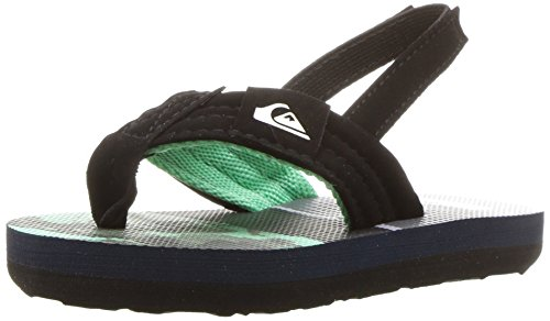 Quiksilver Boys' Molokai Layback Sandal, Black/Grey/Green, 6 M US Toddler