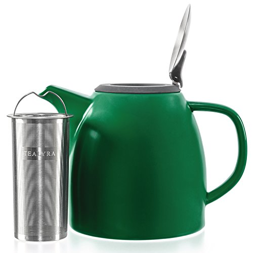 Lid Teapot Green (Tealyra - Drago Ceramic Teapot Green - 37oz (4-6 cups) - Large Teapot with Stainless Steel Lid Extra-Fine Infuser for Loose Leaf Tea - Lead-free - 1100ml)
