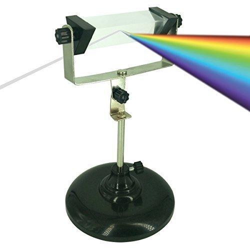Bloomoak Optical Glass Triangular Prism,mit Rotatable und Adjustable Steel Stand Holder,für Teaching Light Spectrum Physics,Photography und Crystal Rainbow Maker