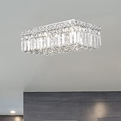 16 L x 8 W x 5 H Chrome Finish and Clear Crystal Large Worldwide Lighting W33528C16 Cascade 4 Light Flush Mount Rectangle Crystal Ceiling Light