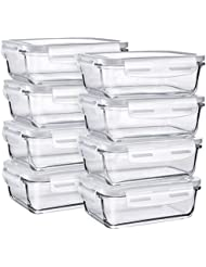 Glass Food Storage Containers, Bayco [8 Sets, 29oz] Glass Meal Prep Containers, Airtight Glass Storage Containers with Lids - BPA-Free & FDA Approved & Leak Proof