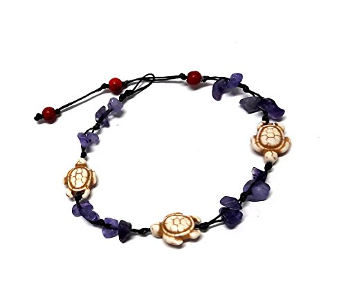 Turtle Stone Purple Amethyst Color Bead Anklet or Bracelet 26 cm.Handmade for Women Teens and Girls