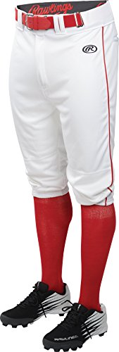 Rawlings Men's Launch Knicker Piped Baseball Pant White/Red Stripe Large