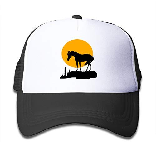 Sunset Moon Horse Mesh Caps Baseball Trucker Hats Adjustable for Girls Black