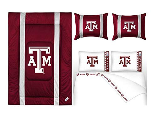 Sidelines Texas Comforter (Northwest NCAA Texas A&M Aggies Sidelines Bedding Set - Includes King Comforter, 2 Standard Shams, 4pc King Sheet Set)