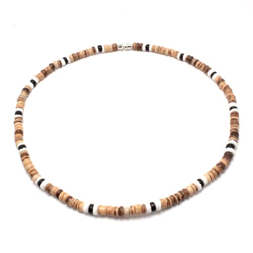 5mm Tiger Brown Coco Bead Hawaiian Surfer Necklace with White Puka Shell and Black Coco Bead Accents, Barrel Lock (16 IN)