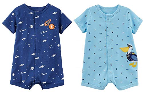 - Carter's Baby Boy's 2 Pack Cotton Romper Creepers Set (Blue Multi, 6 Months)