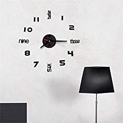 2019HoHo 3D DIY Wall Clock Sticker Silent Non Ticking Mirror Surface Decorative Clock for Office Living Room Decal