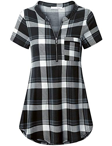 (Messic Plaid Tunic Tops, Juniors Notch Neck Short Sleeve Blouses Sexy Deep V Neck Plaid Polo T Shirt Flattering Casual Summer Clothes Stretchy Knitted Plus Size Tops for Spring Wear Black Plaid 2XL)