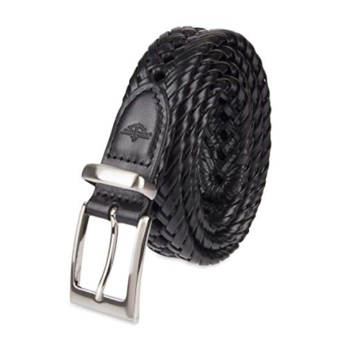 (Dockers Men's  1 1/4 in. Laced Braid Metal Logo Belt,Black,38)