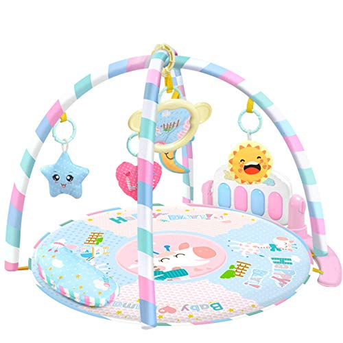 (Firlar Baby Play Mat,Newborn Pedal Piano Fitness Rack Multi-Function Music Light Crawling Mat Round Game Pad Education Toy for 0-12 Months Toddlers (Pink))