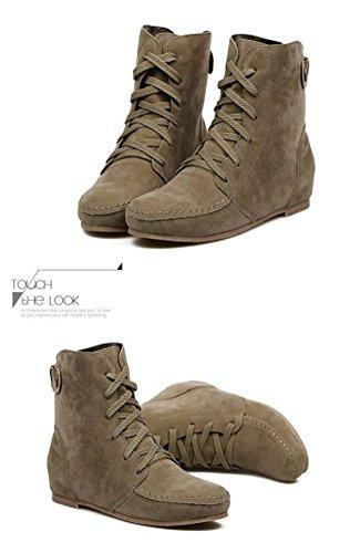 Minetom Damen Kurz Schlupfstiefel Martin Schneestiefel Outdoor Boots Warme Gefütterte Schnürstiefeletten Flache Schuhe Khaki Gitter