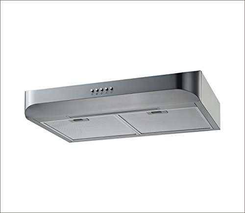 Winflo 30 Under Cabinet Stainless Steel European Slim Design Kitchen Range Hood Push Button Control Included Dishwasher-Safe Aluminum Filters and LED Light
