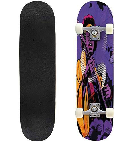 Cuskip UFO Skateboard Complete Longboard 8 Layers Maple Decks Double Kick Concave Skate Board